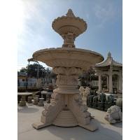 园林景观石雕水钵、石雕喷泉、黄锈石双层水钵、石雕双层水景
