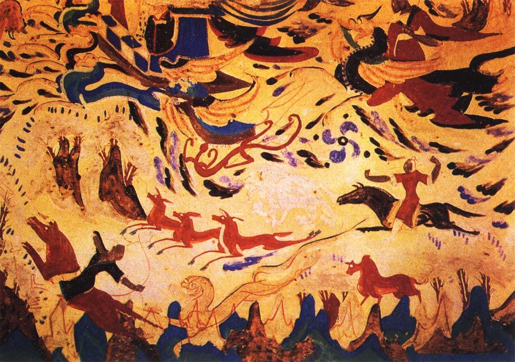 狩猎图; 飞天壁画;; 《狩猎图》 中国 敦煌壁画 西魏